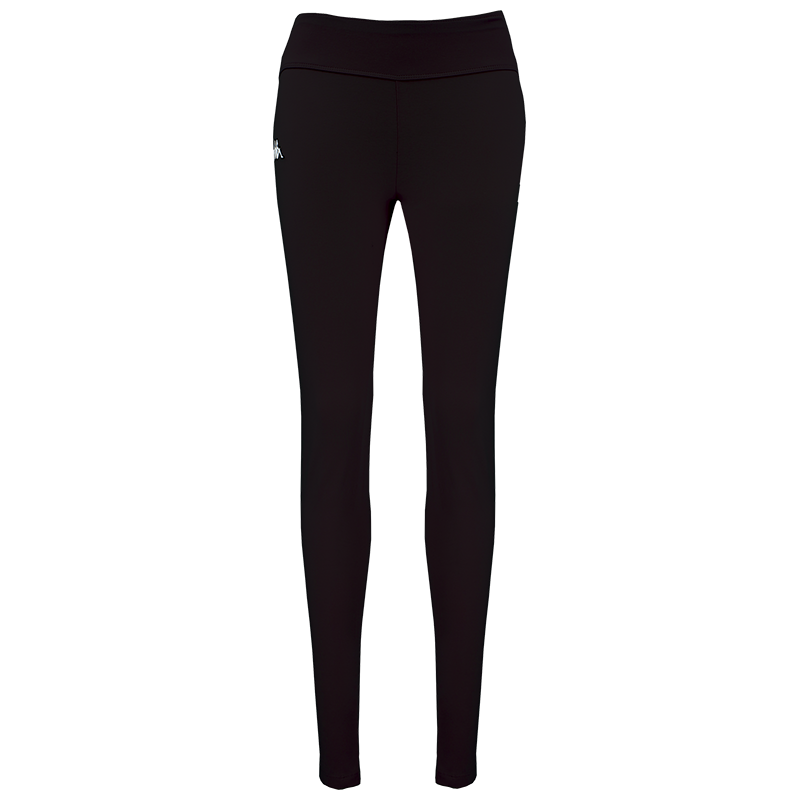 Kappa Pelosa Woman pant is a black legging with white embroidered Omini logo on the right leg