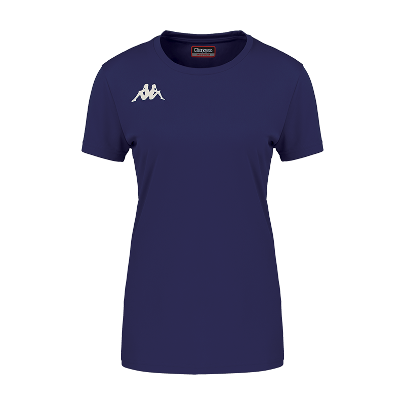 Kappa Roviga Woman Match short sleeve shirt in blue marine (navy) with white embroidered Omini on the chest