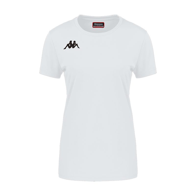 Kappa Roviga Woman Match short sleeve shirt in white with black embroidered Omini on the chest