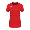 Kappa Roviga Woman Match short sleeve shirt in red with white embroidered Omini on the chest