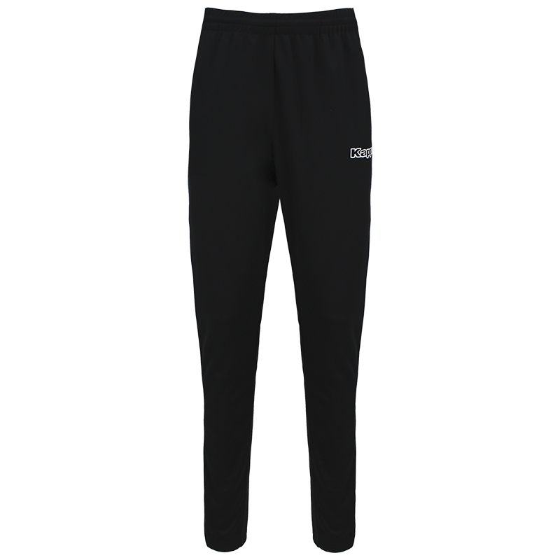 Kappa Salci slim fit pant in black with white Kappa text logo on the left leg