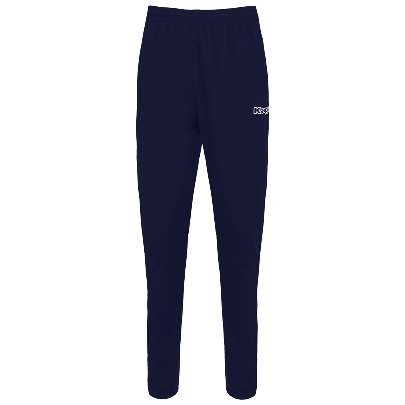 Kappa Salci slim fit pant in blue marine (navy) with white Kappa text logo on the left leg