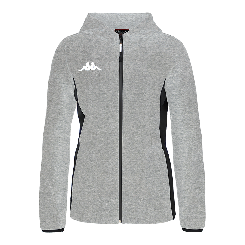 grey Kappa Marzama Woman Teck Jacket with hood and full zip, white printed Omini logo on the chest.