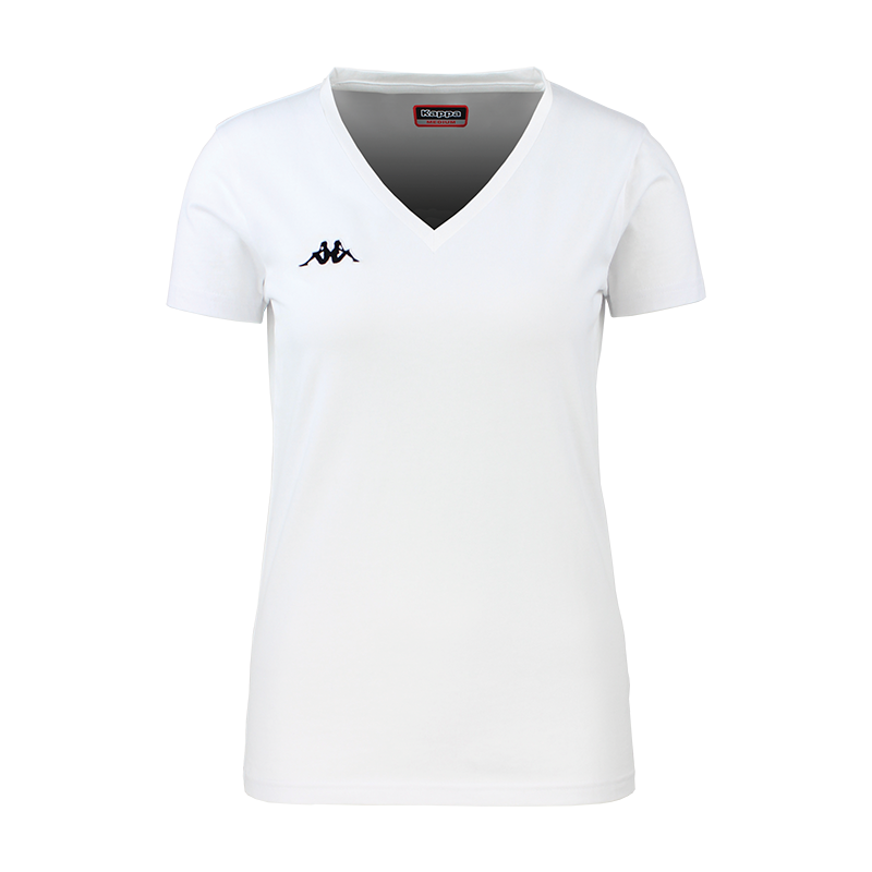 Kappa Meleti womans tee in white with black embroidered Omini logo