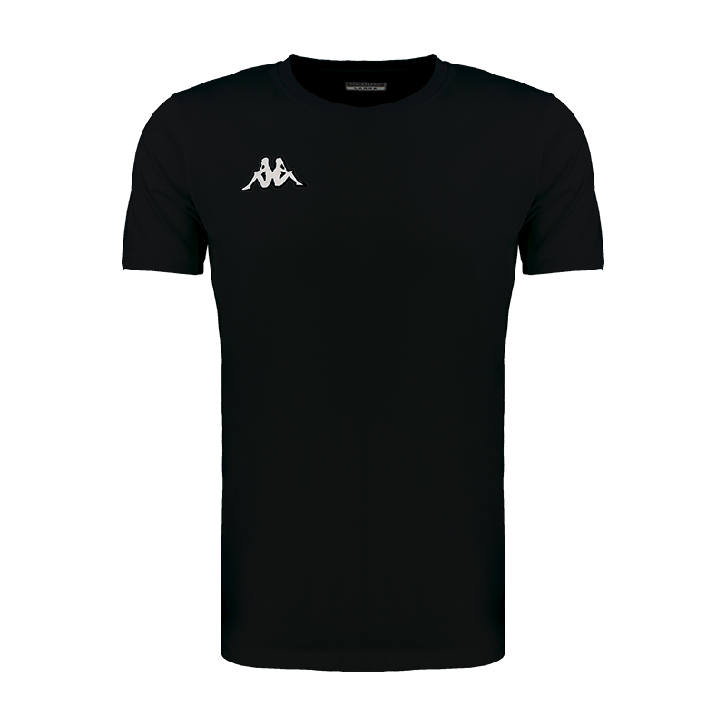 Kappa Meleto tee shirt in black with round neck and white embroidered Omini logo on the right chest.