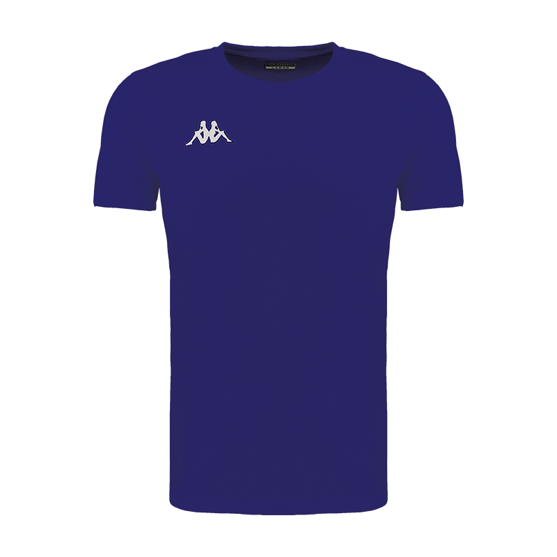 Kappa Meleto tee shirt in blue marine (navy) with round neck and white embroidered Omini logo on the right chest.
