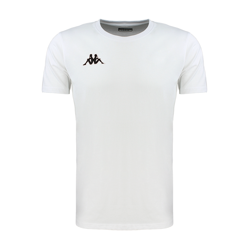 Kappa Meleto tee shirt in white with round neck and black embroidered Omini logo on the right chest.