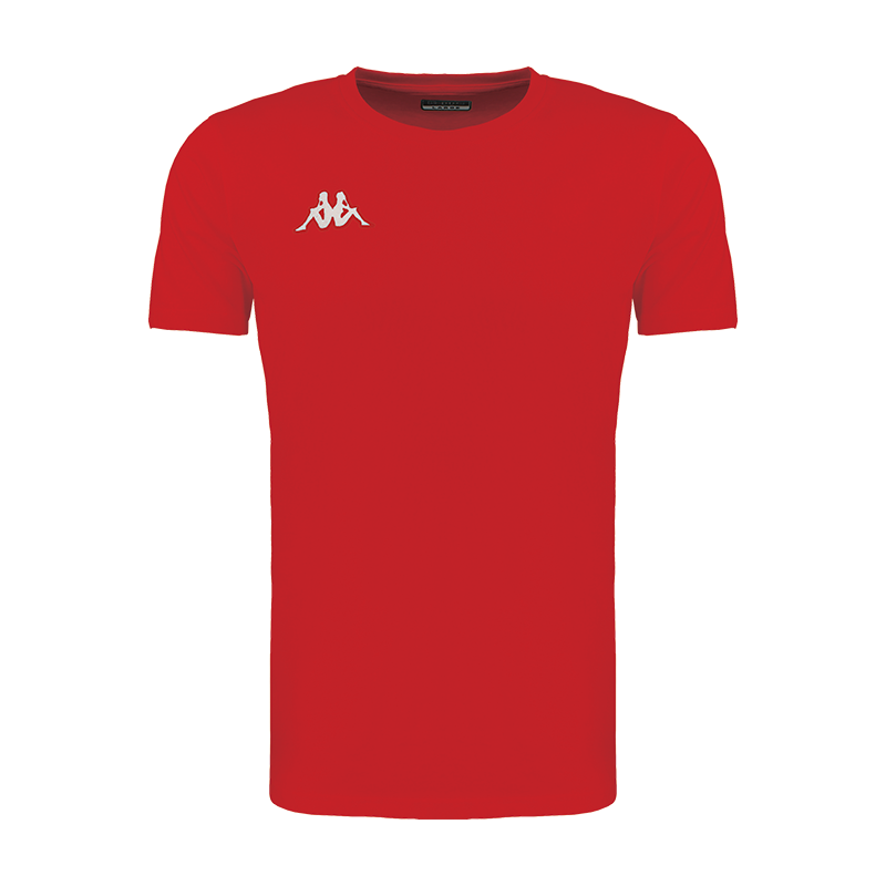 Kappa Meleto tee shirt in red with round neck and white embroidered Omini logo on the right chest.