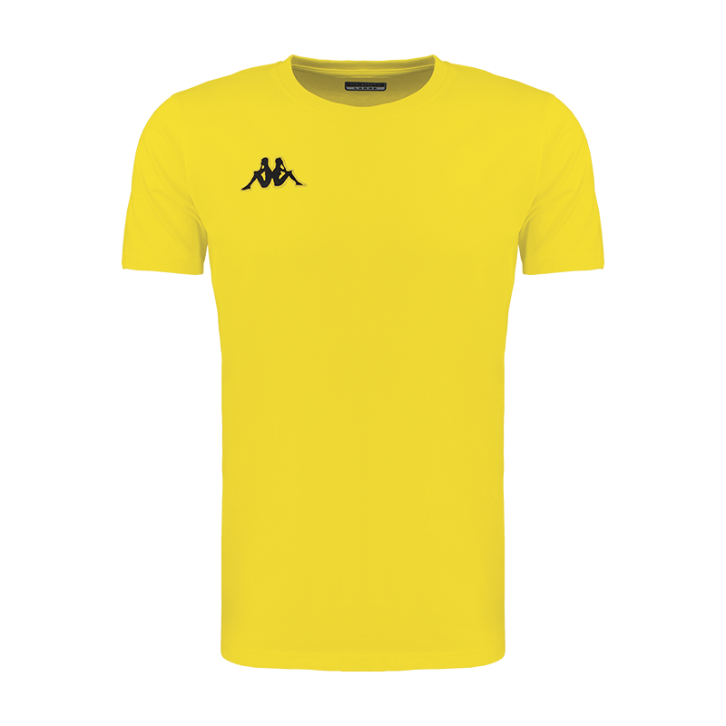 Kappa Meleto tee shirt in yellow with round neck and black embroidered Omini logo on the right chest.