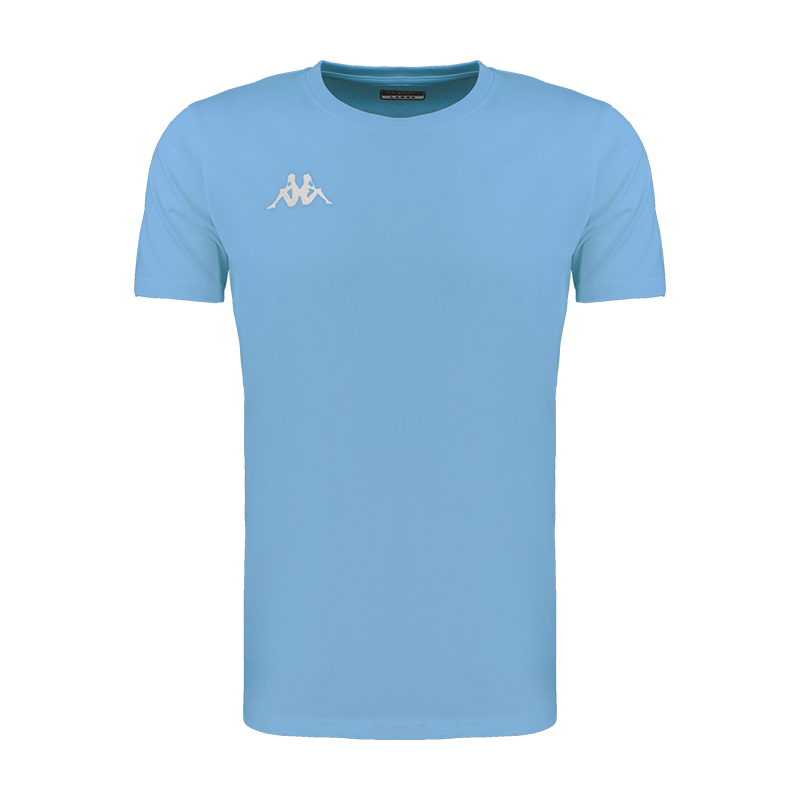 Kappa Meleto tee shirt in blue light (sky blue) with round neck and white embroidered Omini logo on the right chest.