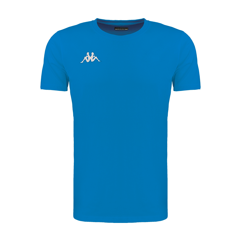 Kappa Meleto tee shirt in blue nautic (royal blue) with round neck and white embroidered Omini logo on the right chest.