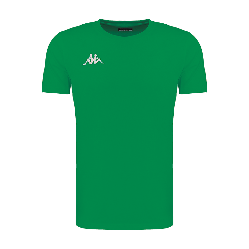 Kappa Meleto tee shirt in green with round neck and white embroidered Omini logo on the right chest.