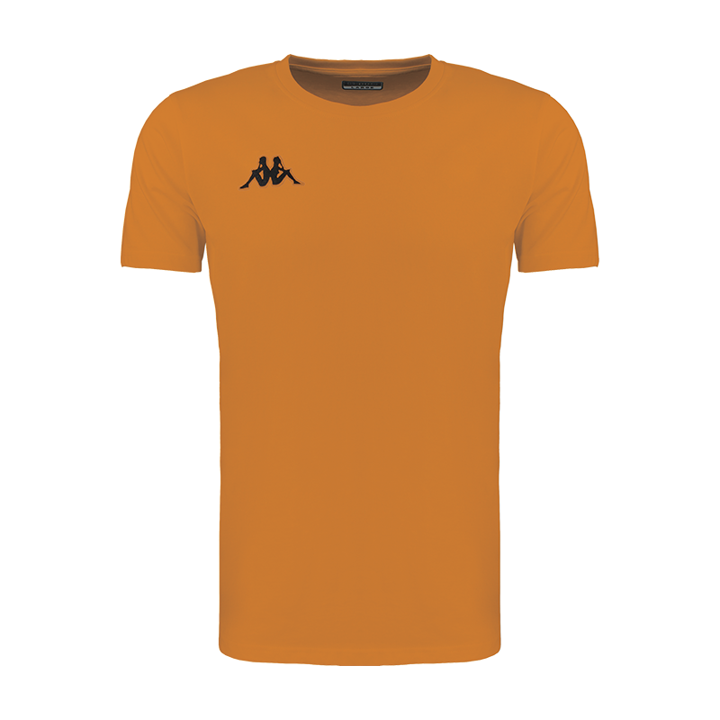 Kappa Meleto tee shirt in orange with round neck and black embroidered Omini logo on the right chest.