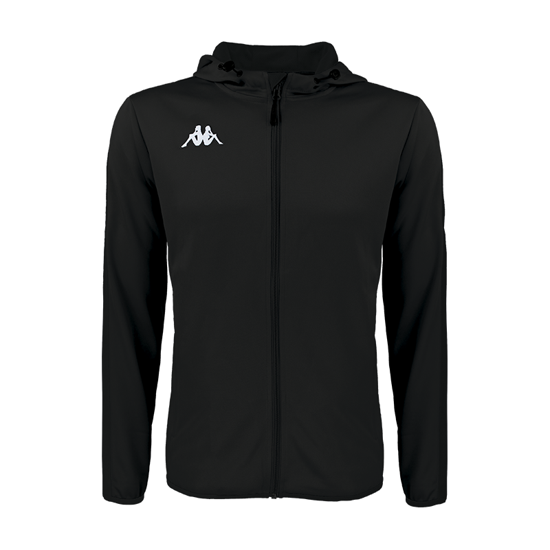 Kappa Telve full zip track jacket in black with white embroidered Omini on the right side of the chest
