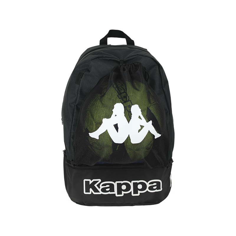Front of Kappa Supino backpack in black with white Omini logo on the removable mesh bag on the front, and white Kappa text logo on the shoe compartment at the bottom.
