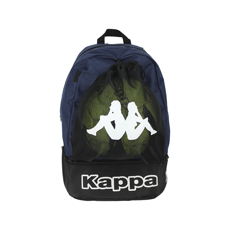 Front of Kappa Supino backpack in blue marine with white Omini logo on the removable mesh bag on the front, and white Kappa text logo on the shoe compartment at the bottom.