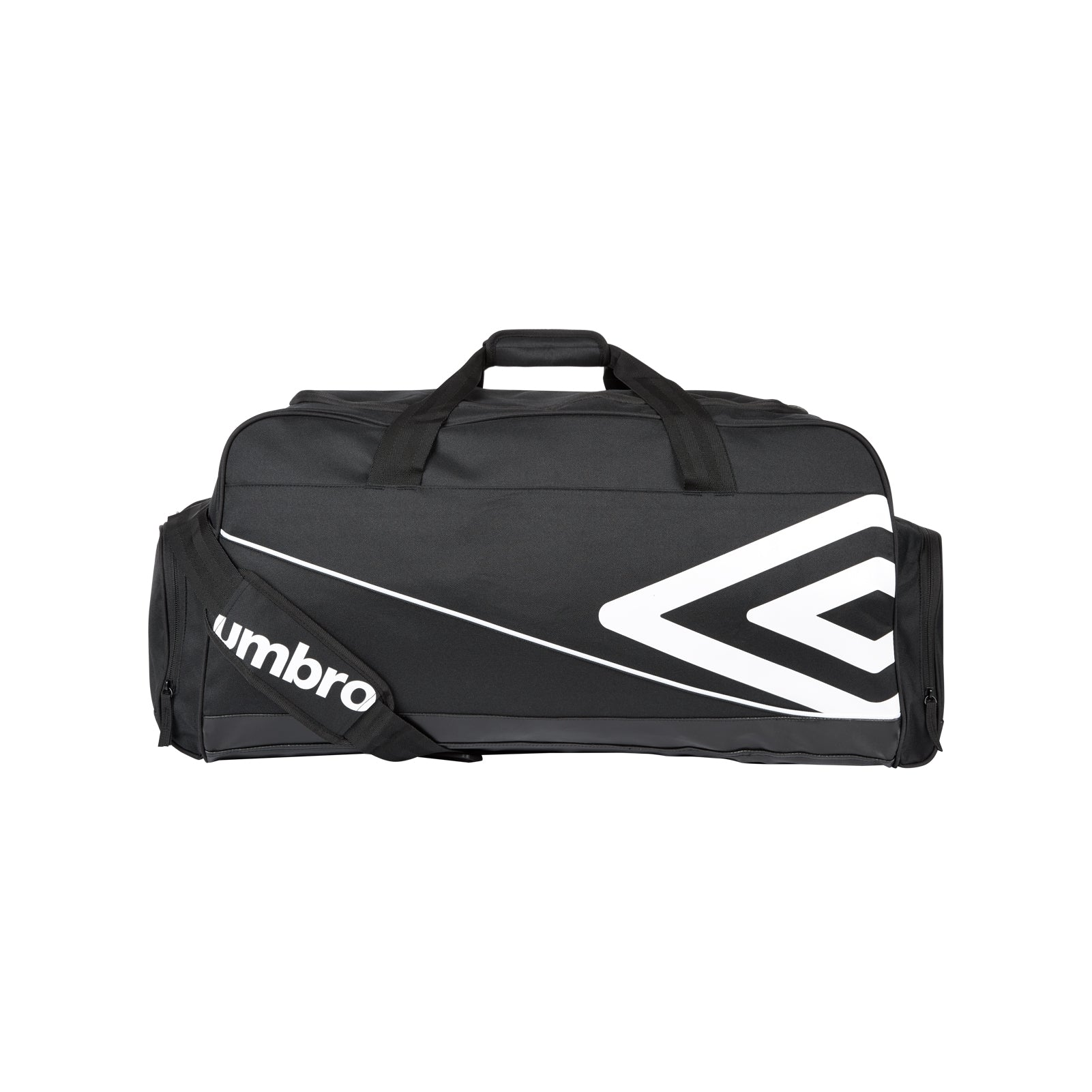 Black Umbro Pro Training Holdall in black with large white double diamond logo, and 2 end pockets