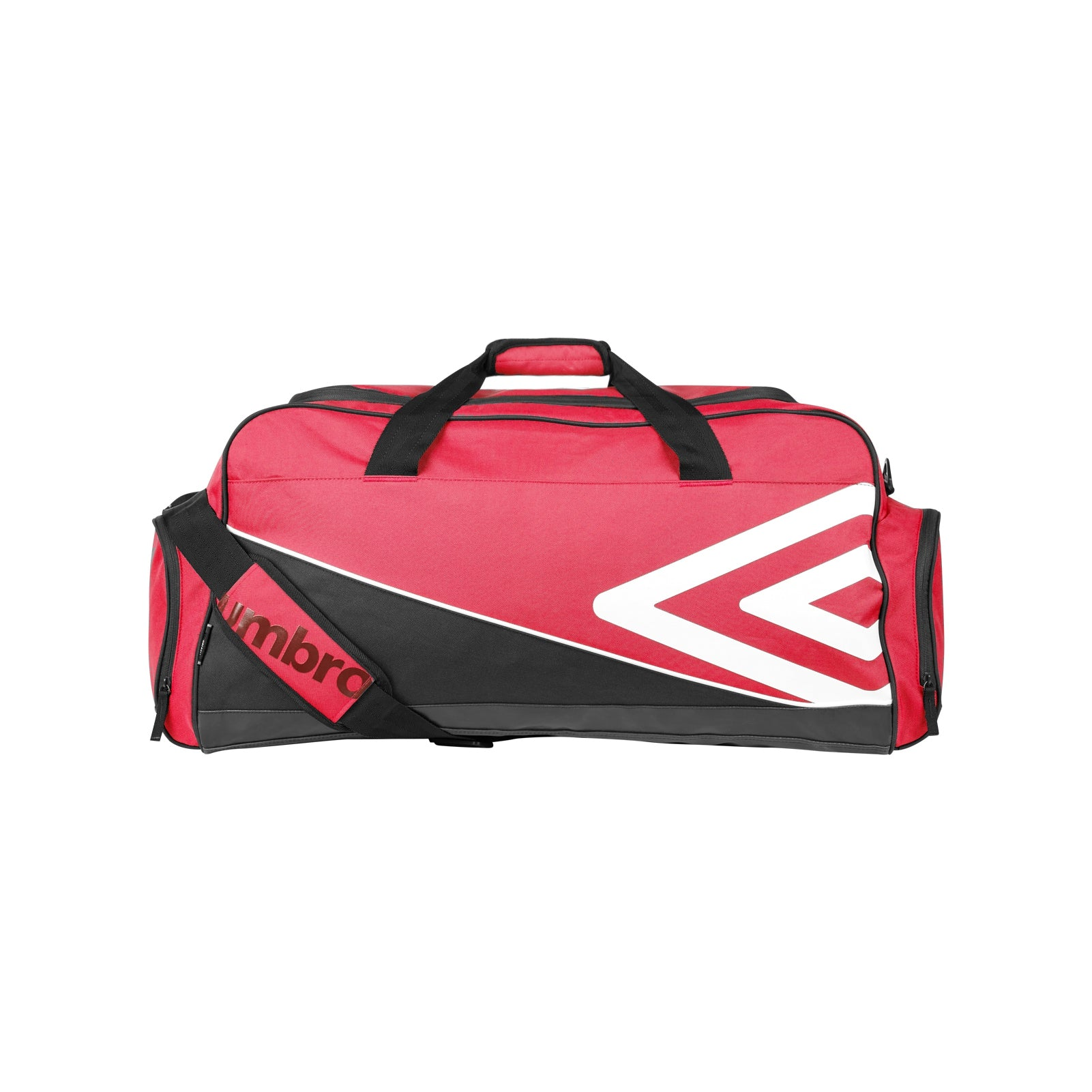 Umbro Pro Training Holdall in red with large white double diamond logo, and 2 end pockets