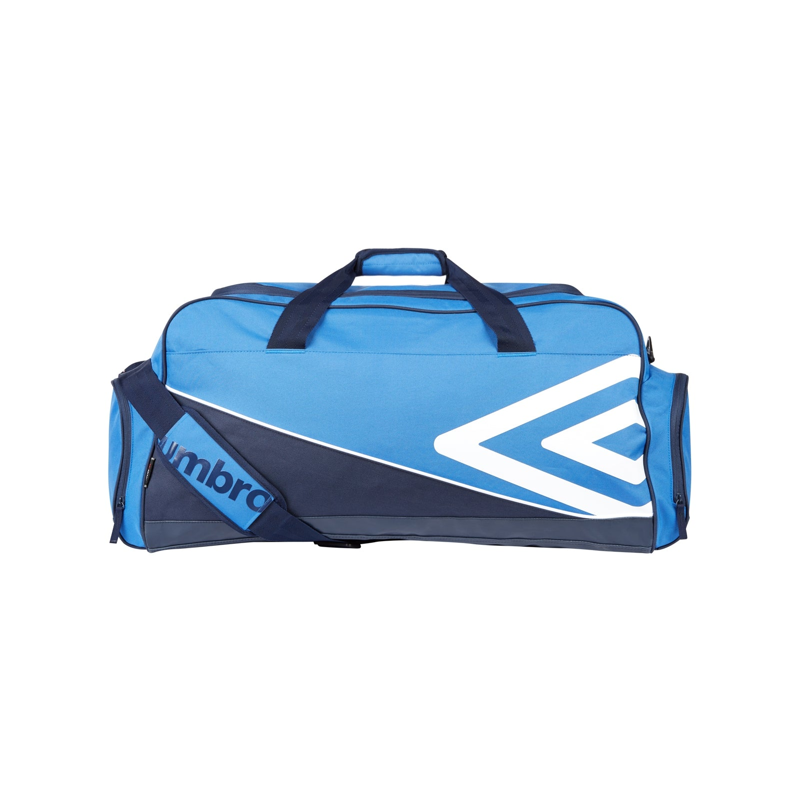 Umbro Pro Training Holdall in royal and navy with large white double diamond logo, and 2 end pockets