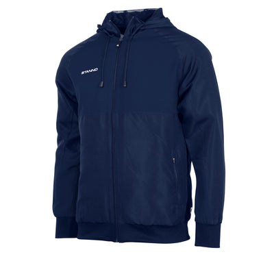 Front of navy Stanno Centro Micro Hooded Jacket with front zip.
