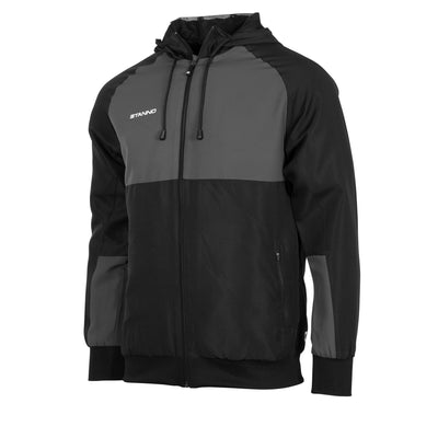 Front of black Stanno Centro Micro Hooded Jacket with front zip, and contrast chest panel in anthracite.