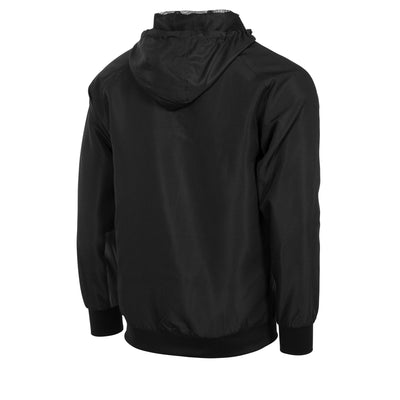 Rear of black Stanno micro hooded jacket in black