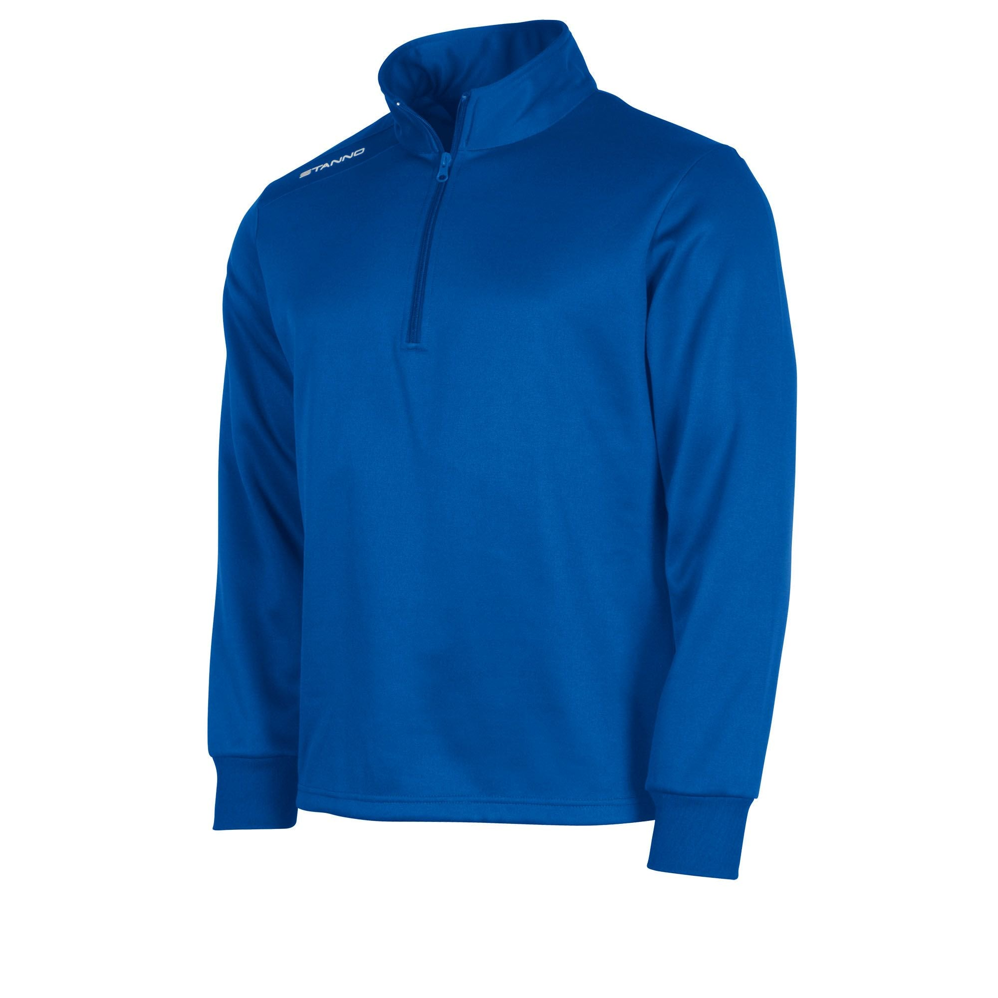 Royal blue Stanno Field half zip top with white Stanno printed logo on right shoulder