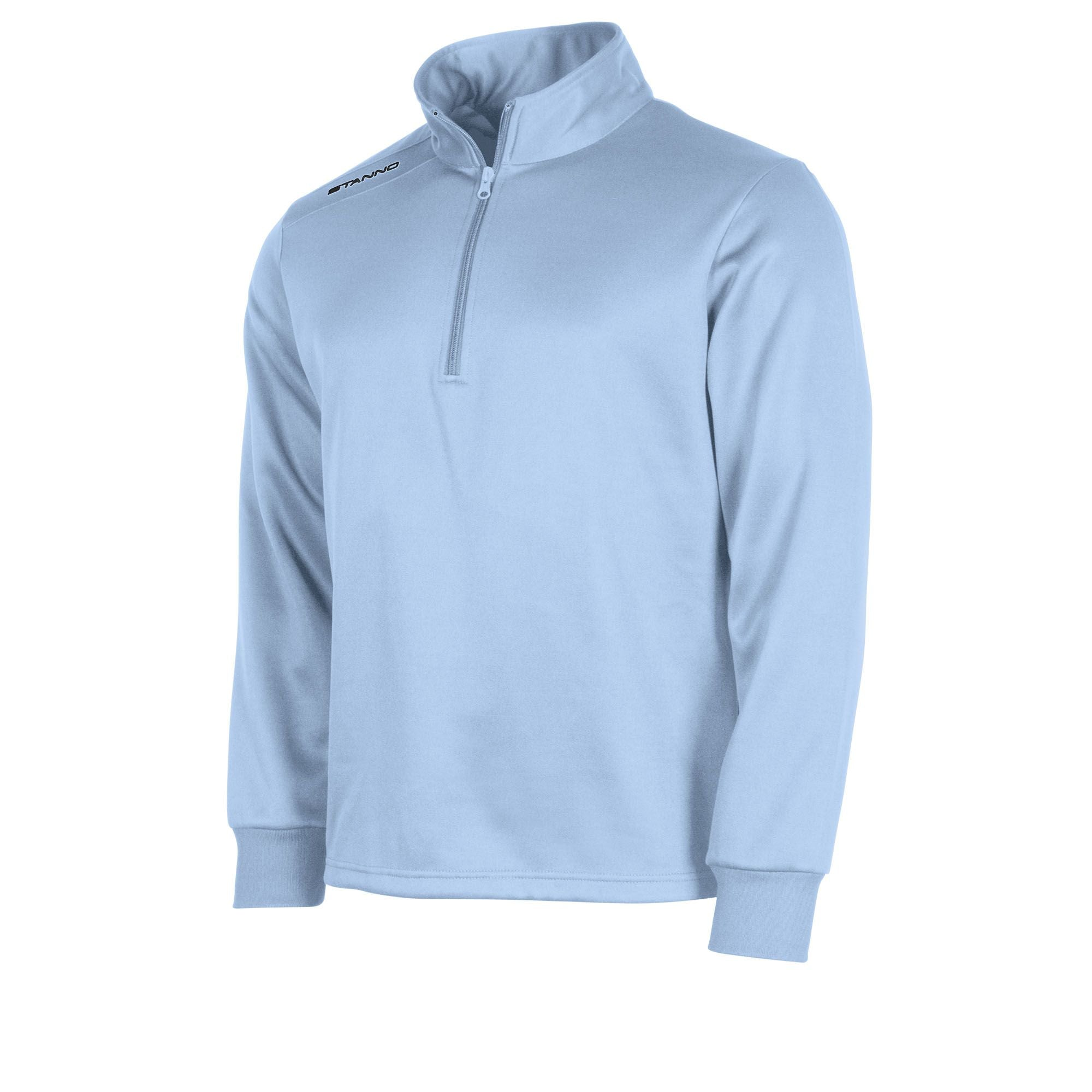 Front of sky blue Stanno Field half zip top with Stanno printed logo on right shoulder