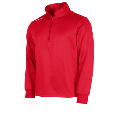 Front of red Stanno Field half zip top with white Stanno printed logo on right shoulder