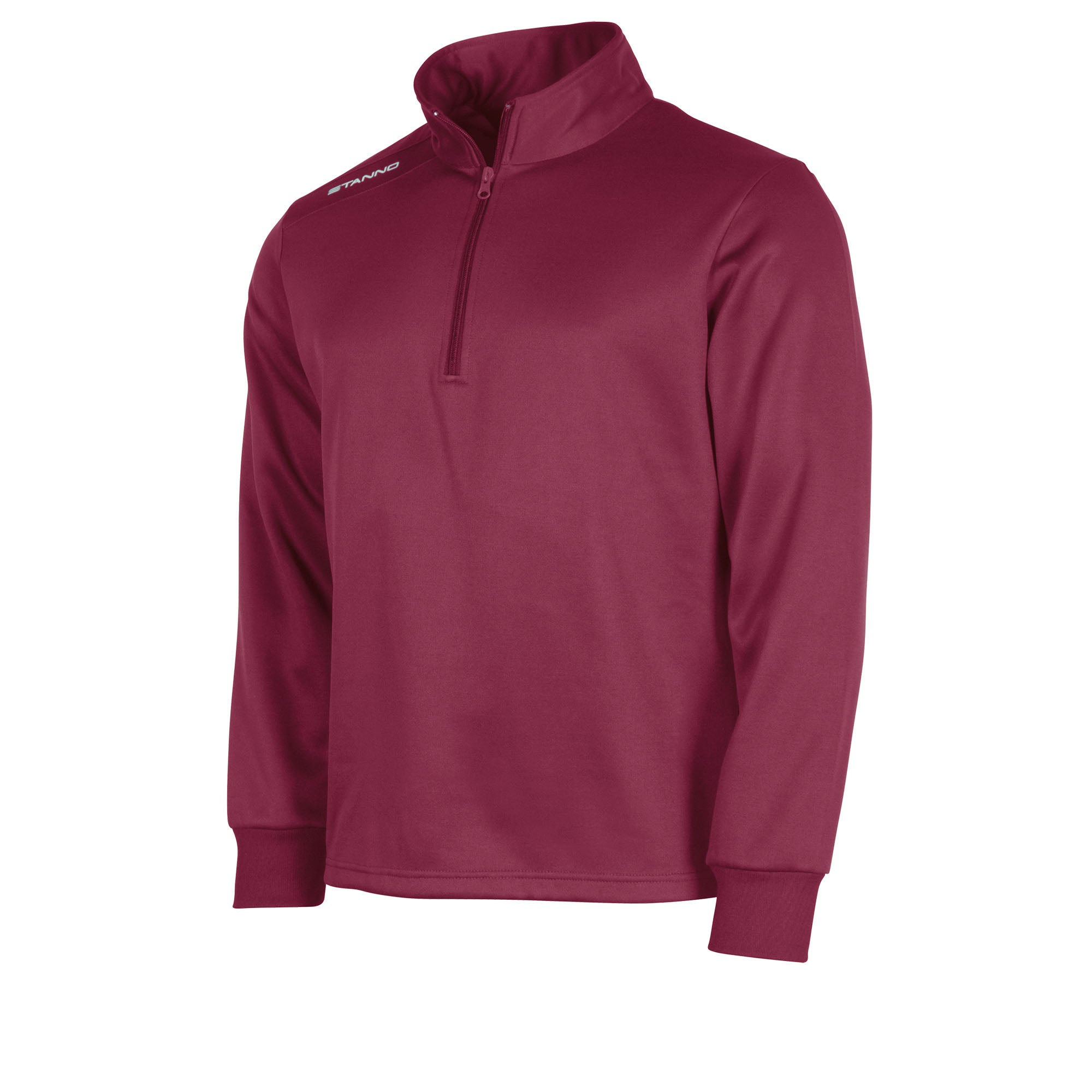 Front of maroon Stanno Field half zip top with white Stanno printed logo on right shoulder