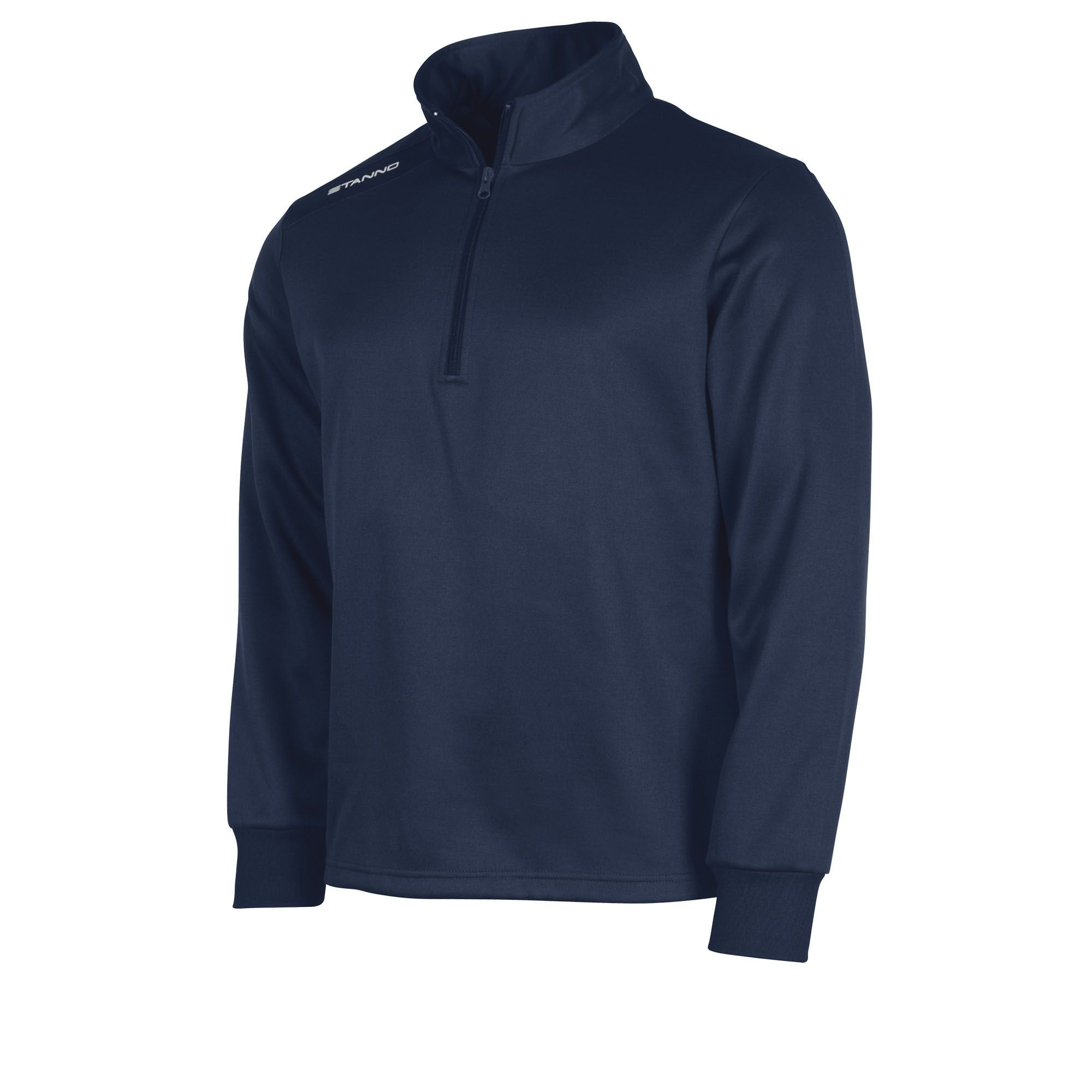 Front of navy Stanno Field half zip top with white Stanno printed logo on right shoulder