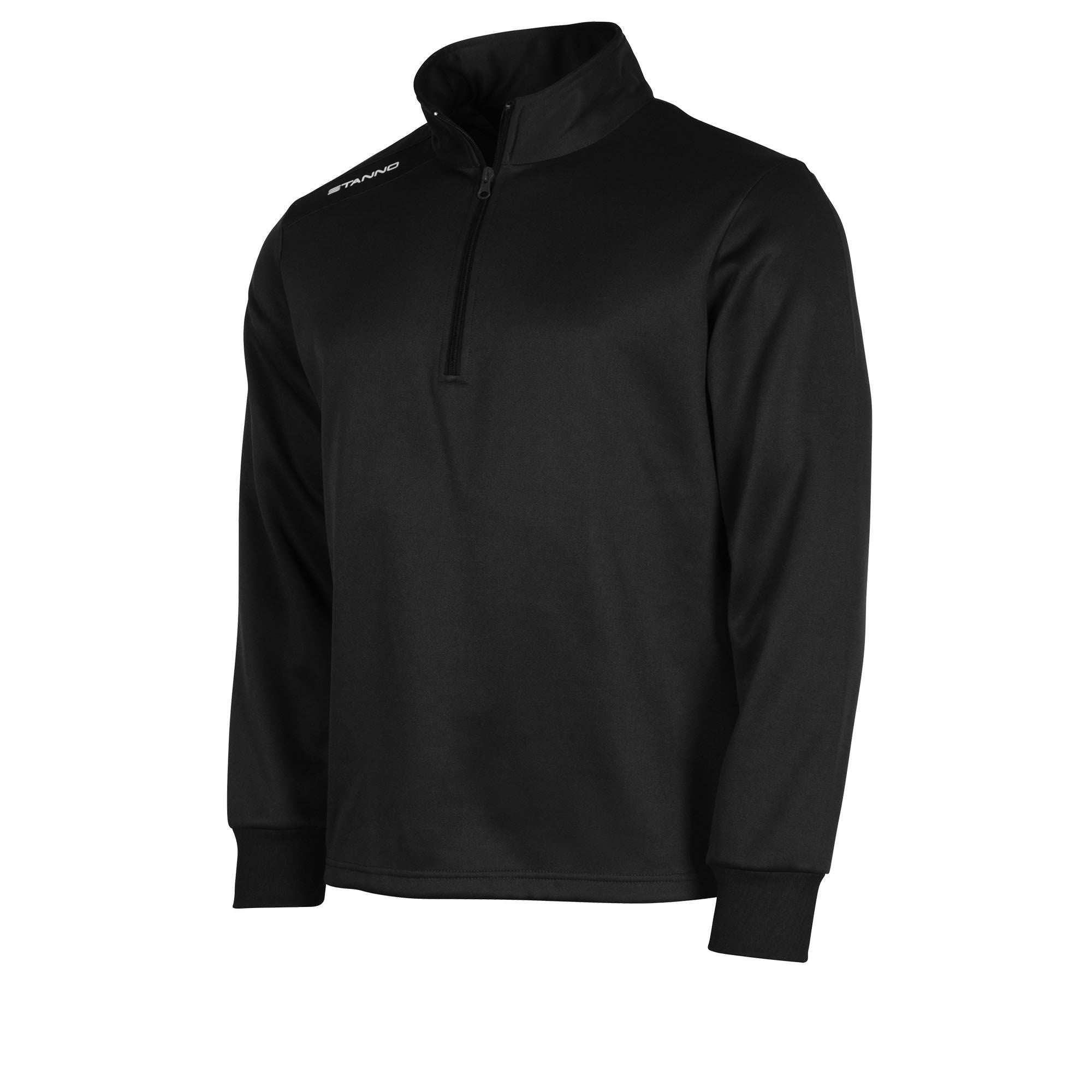 Front of black Stanno Field half zip top with white Stanno printed logo on right shoulder