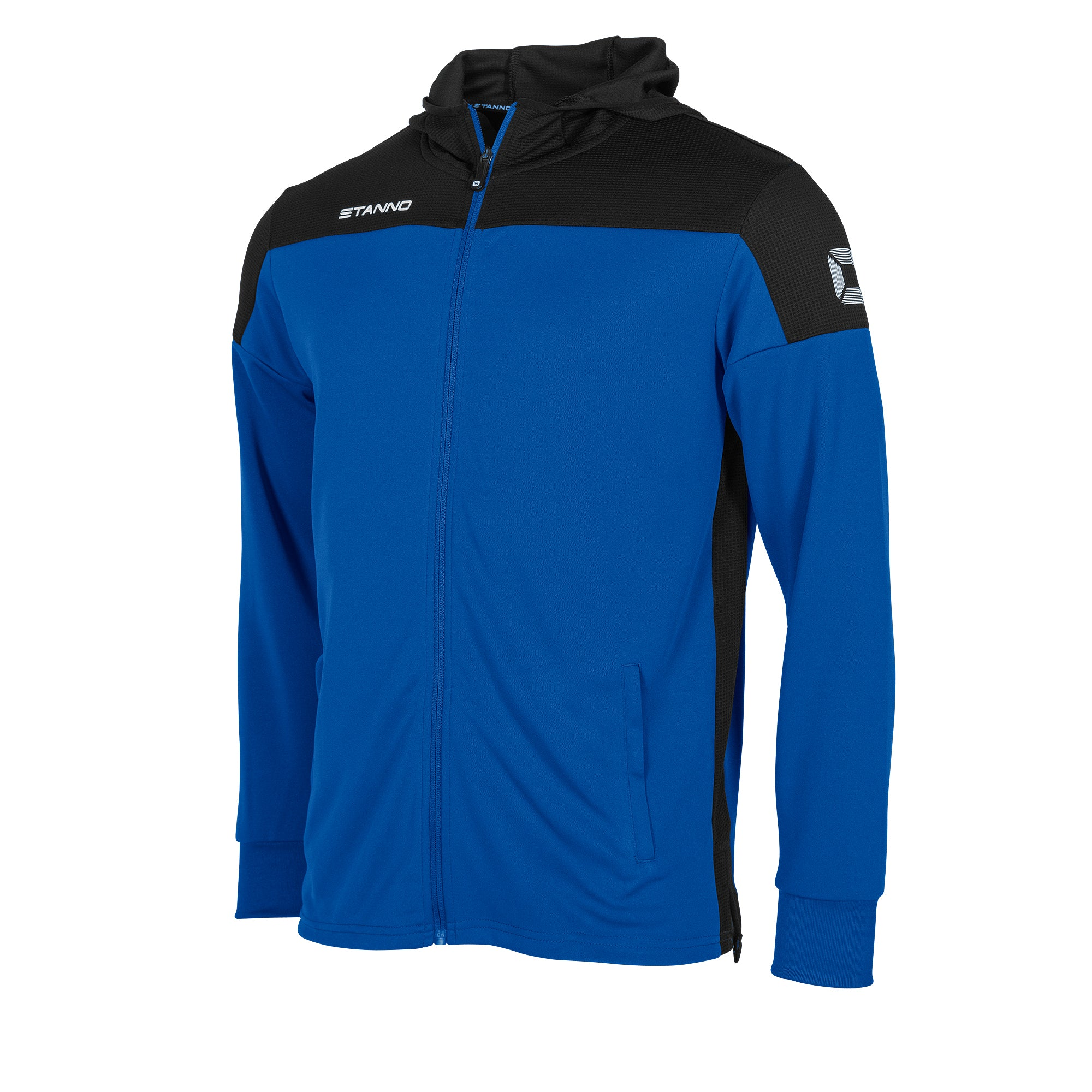 Stanno Pride Hooded Sweat full zip Jacket in royal with black contrast hood, side panels and shoulder