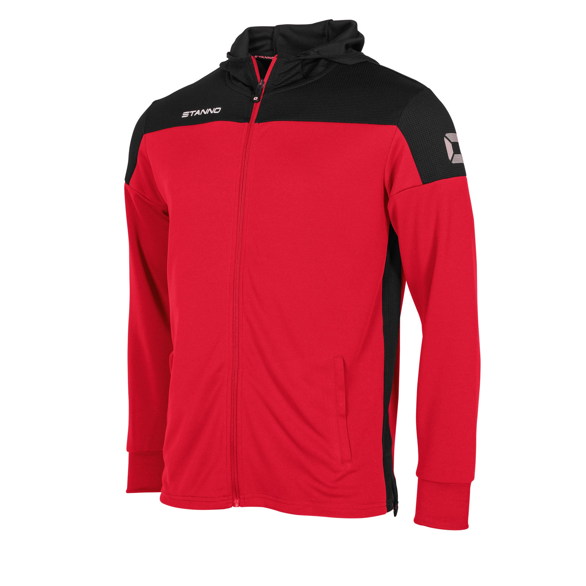 Stanno Pride Hooded Sweat full zip Jacket in red with black contrast hood, side panels and shoulder