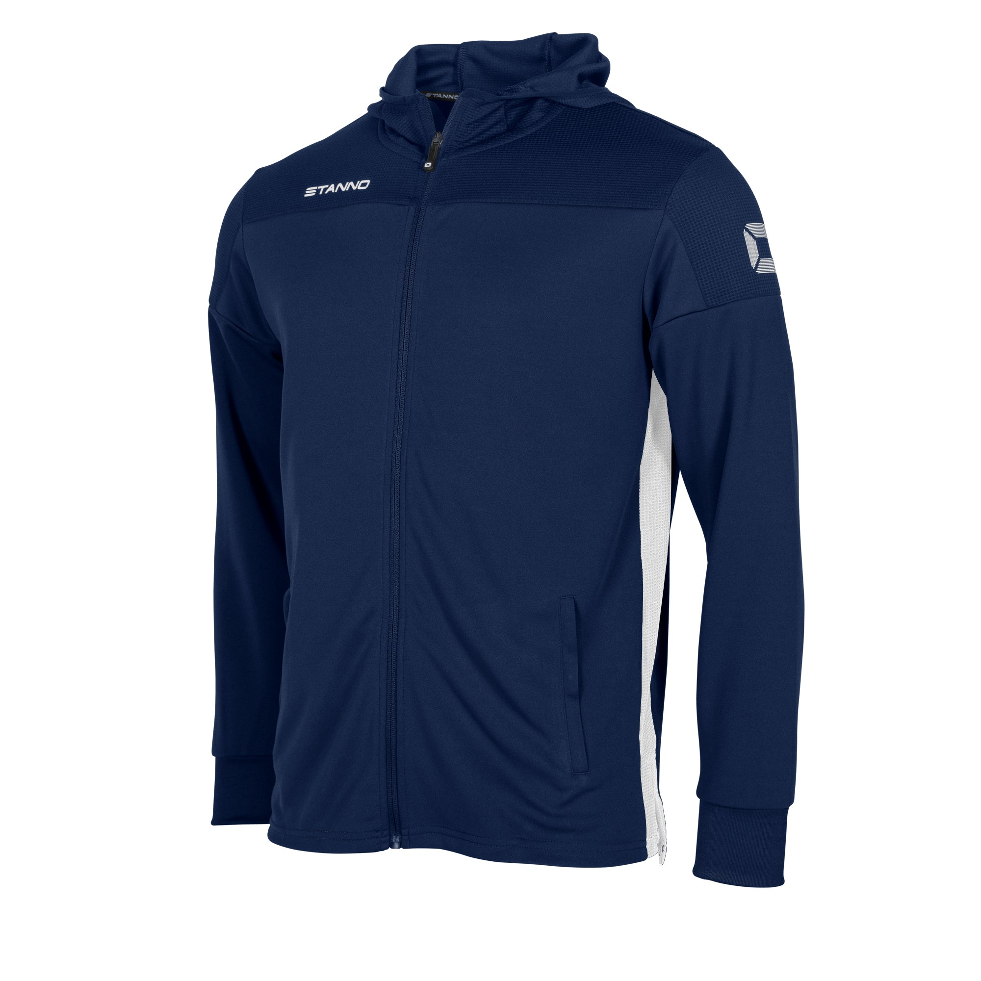 Stanno Pride Hooded Sweat full zip Jacket in navy with white contrast side panels