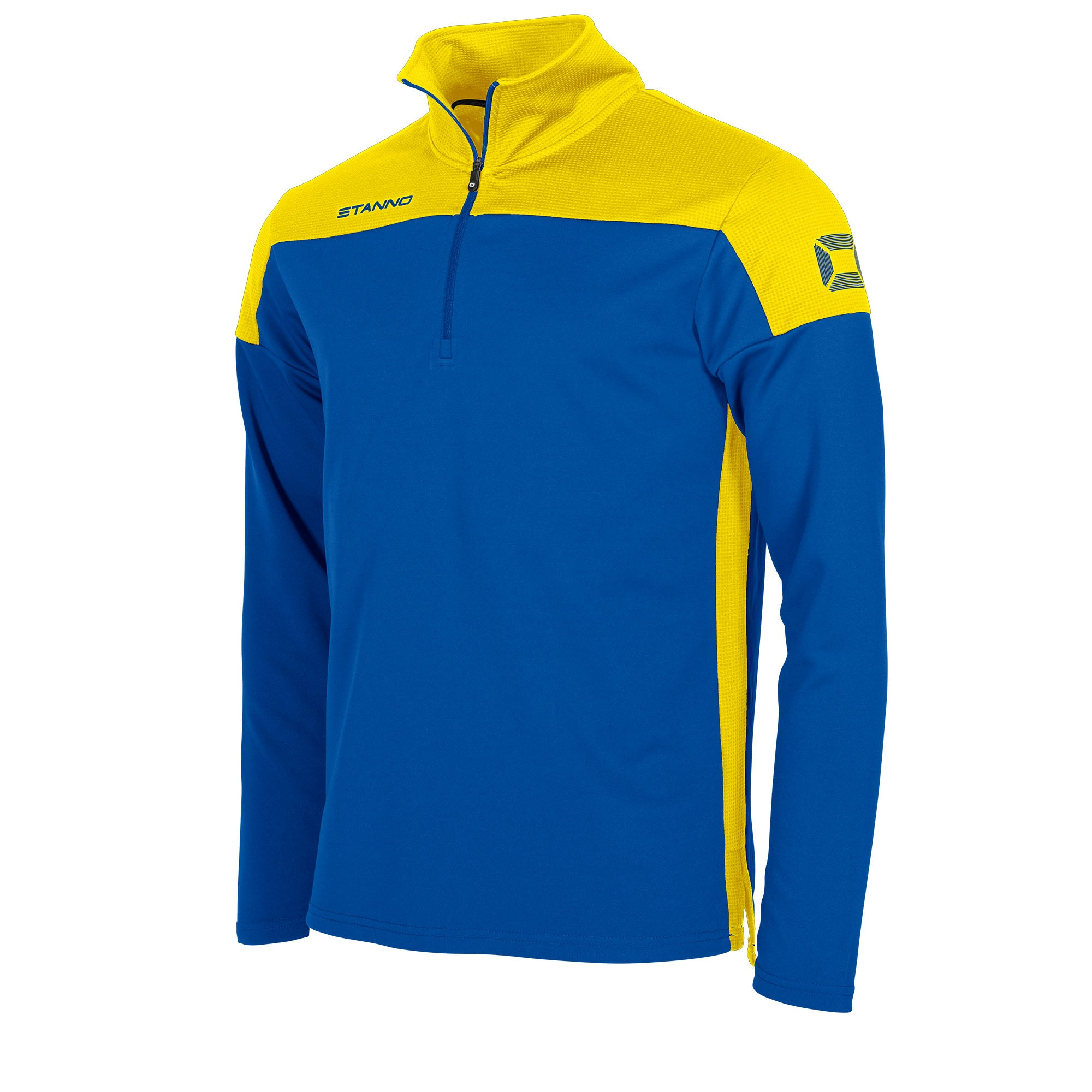 Stanno Pride Training 1/4 Zip in royal with yellow contrast shoulder and side panel
