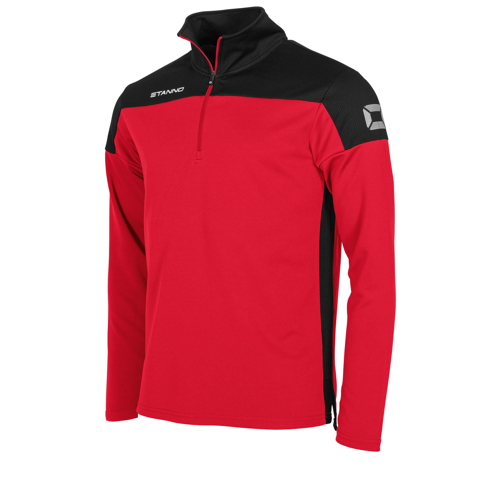 Stanno Pride Training 1/4 Zip in red with black contrast shoulder and side panel