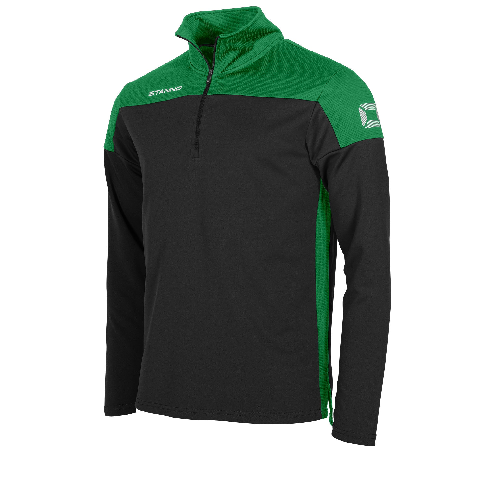 Stanno Pride Training 1/4 Zip in black with green contrast shoulder and side panel