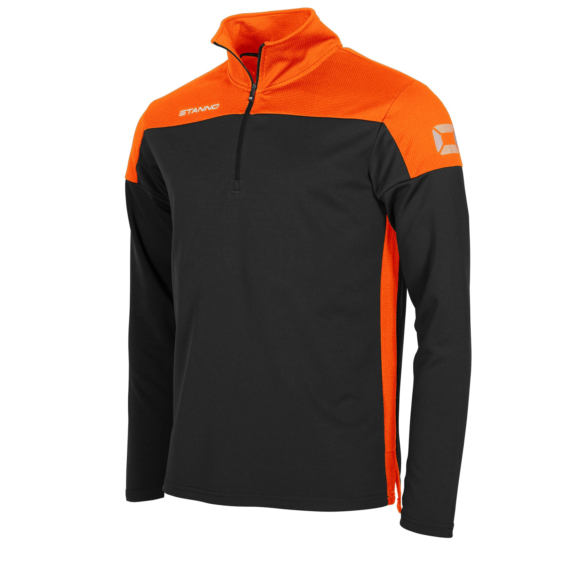 Stanno Pride Training 1/4 Zip in black with orange contrast shoulder and side panel
