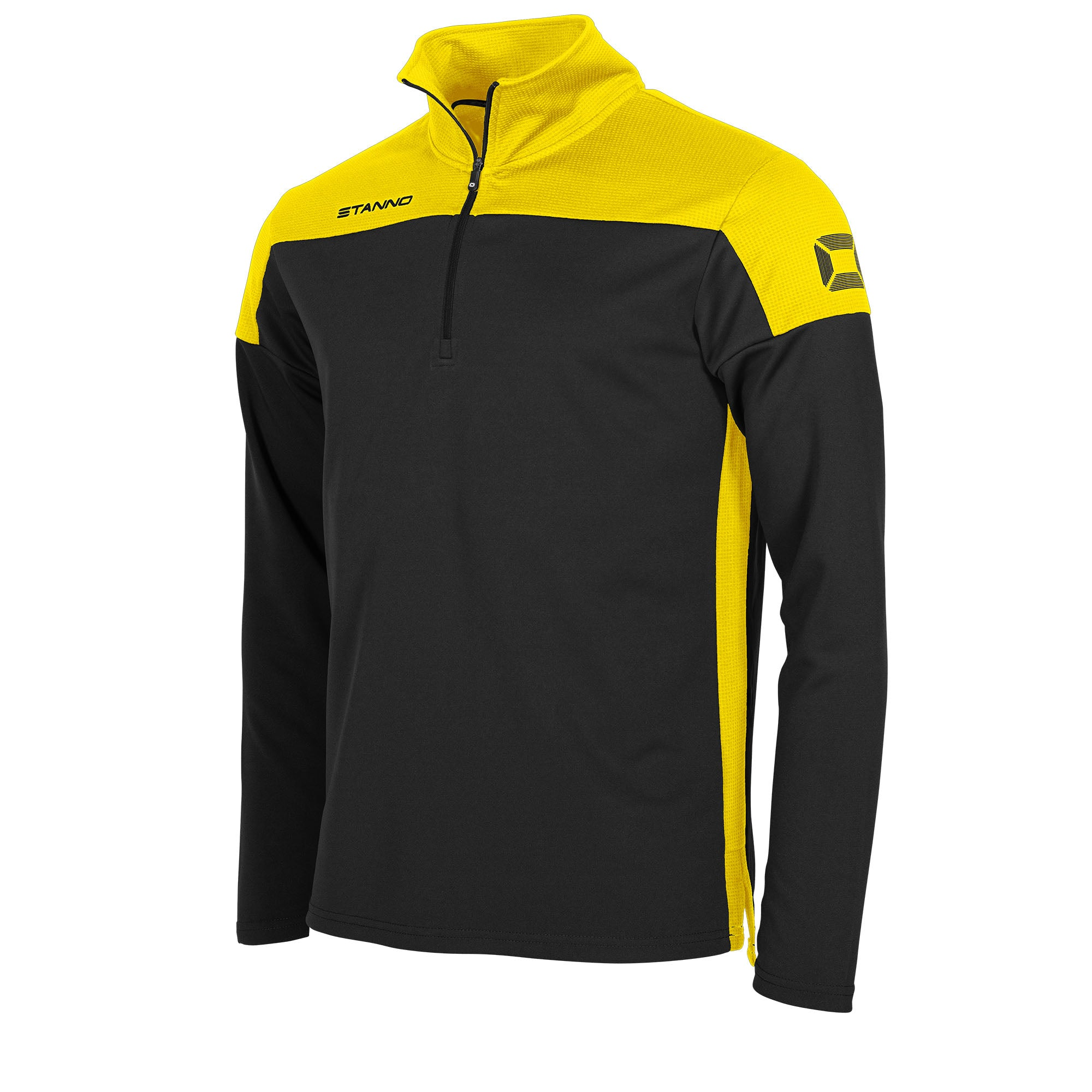 Stanno Pride Training 1/4 Zip in black with yellow contrast shoulder and side panel
