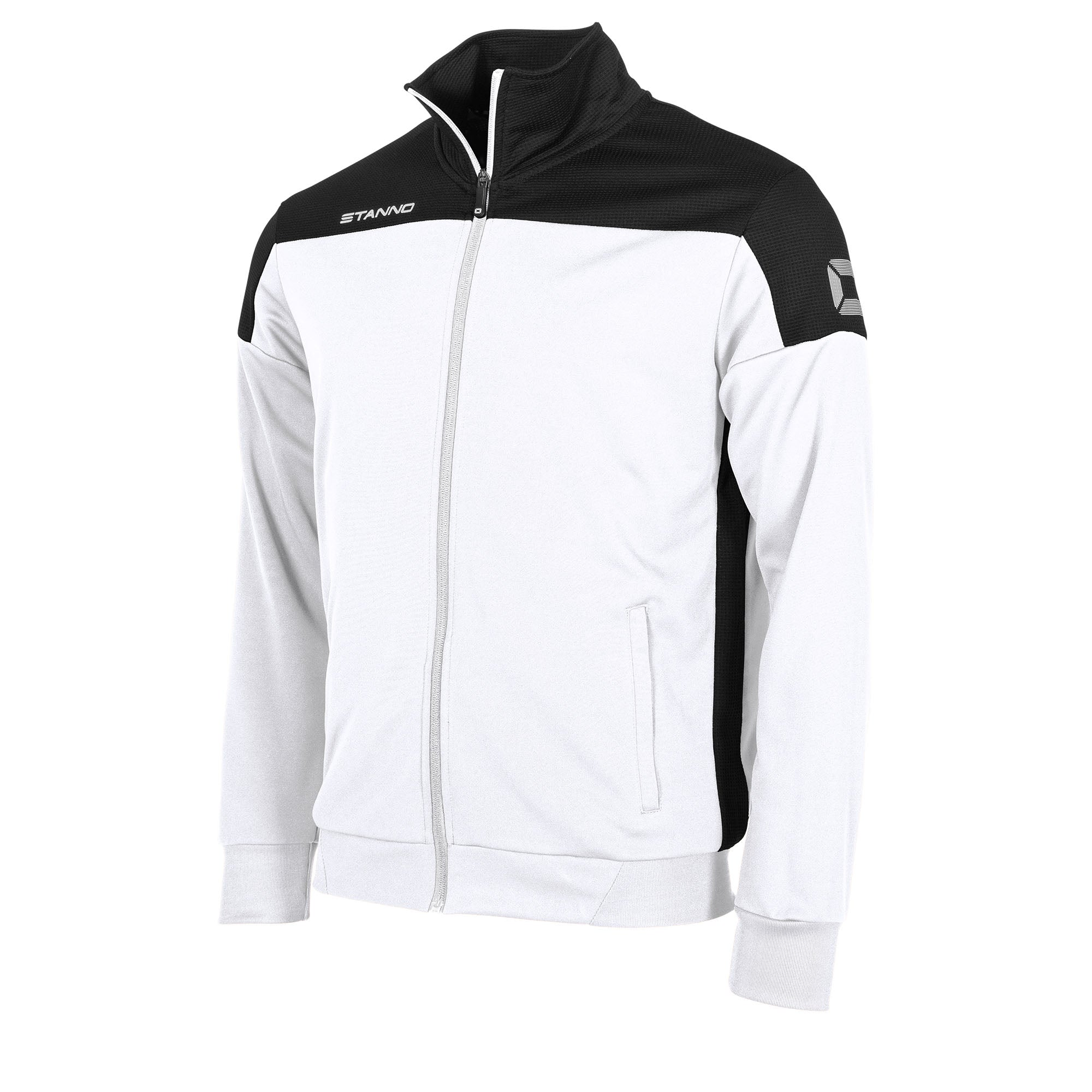 Stanno Pride TTS Jacket full zip in white with black contrast shoulders and side panel