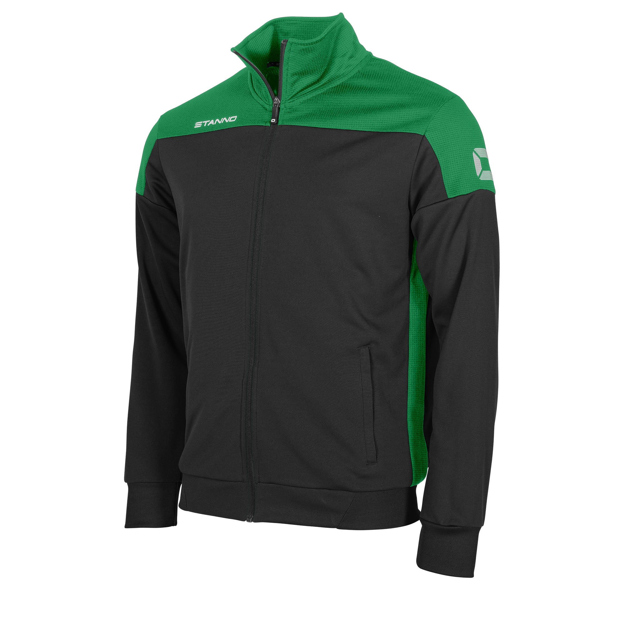 Stanno Pride TTS Jacket full zip in black with green contrast shoulders and side panel