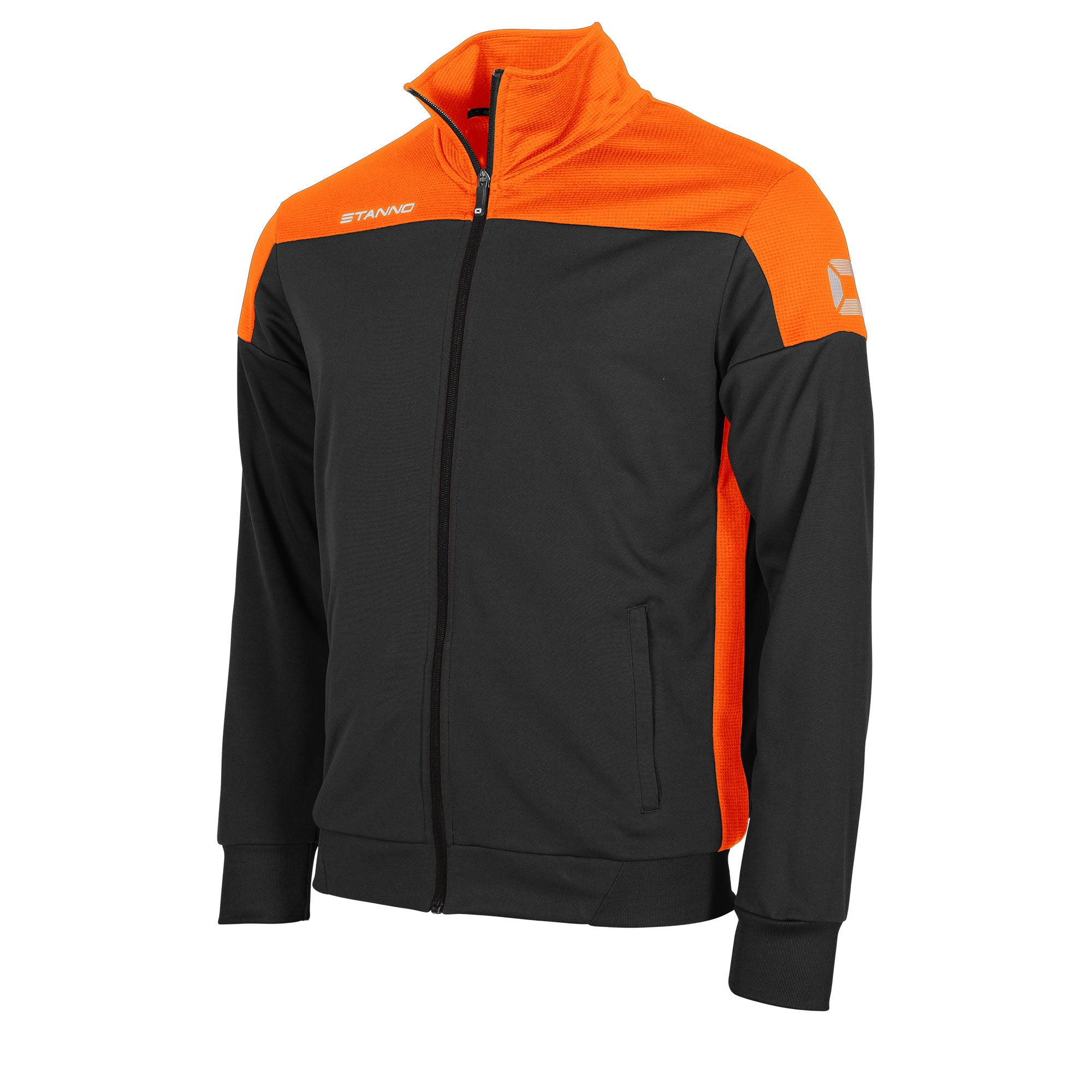 Stanno Pride TTS Jacket full zip in black with orange contrast shoulders and side panel