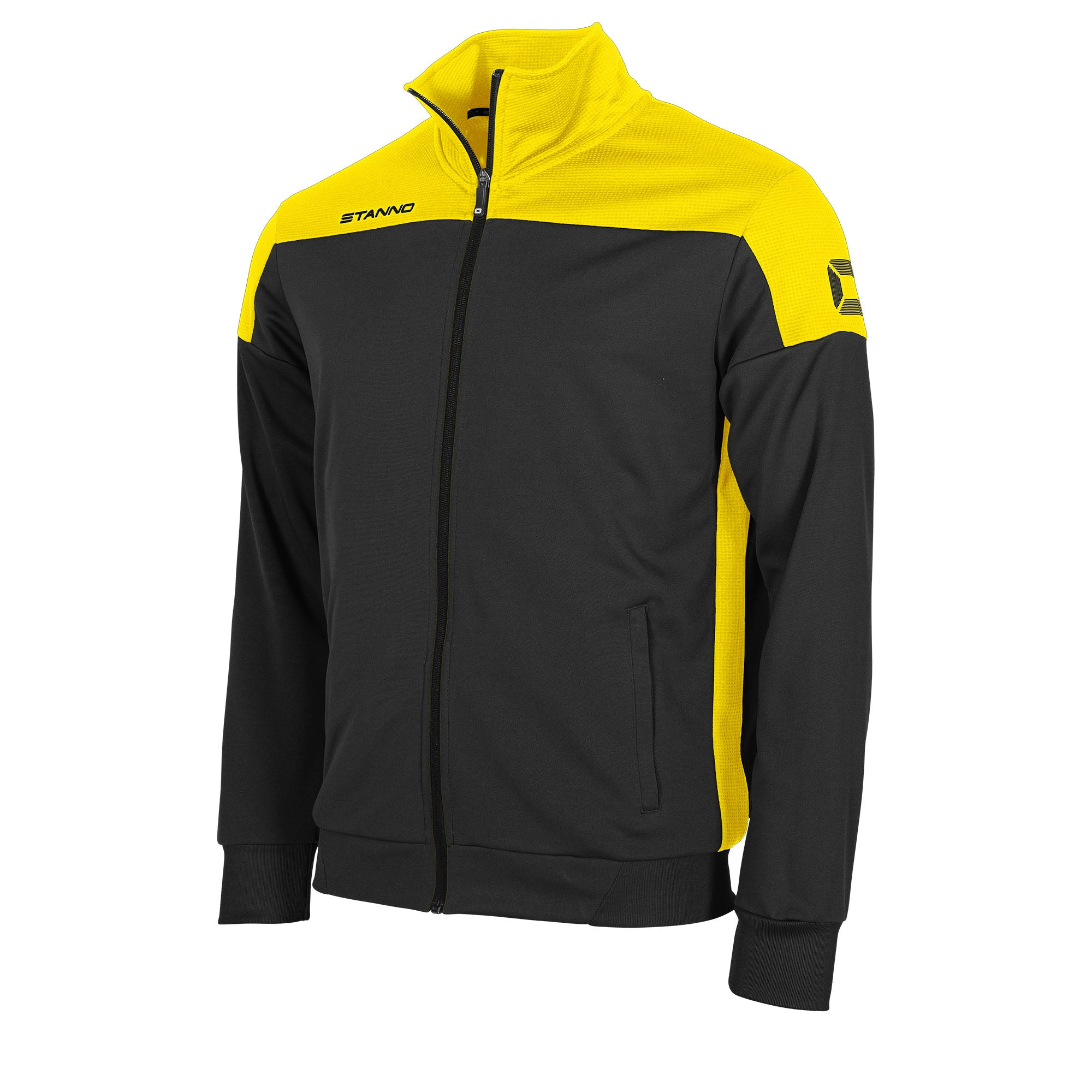 Stanno Pride TTS Jacket full zip in black with yellow contrast shoulders and side panel