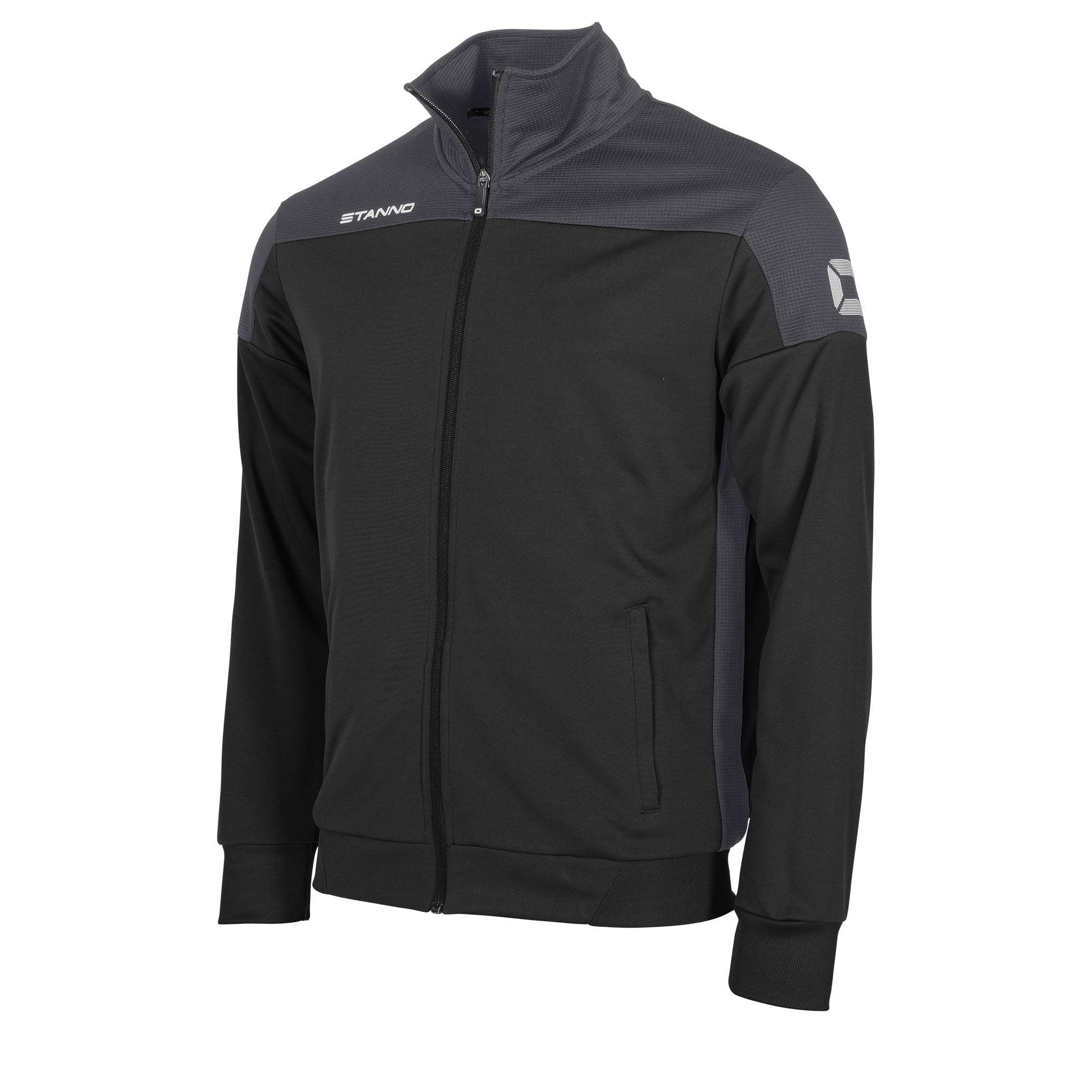 Stanno Pride TTS Jacket full zip in black with anthracite contrast shoulders and side panel
