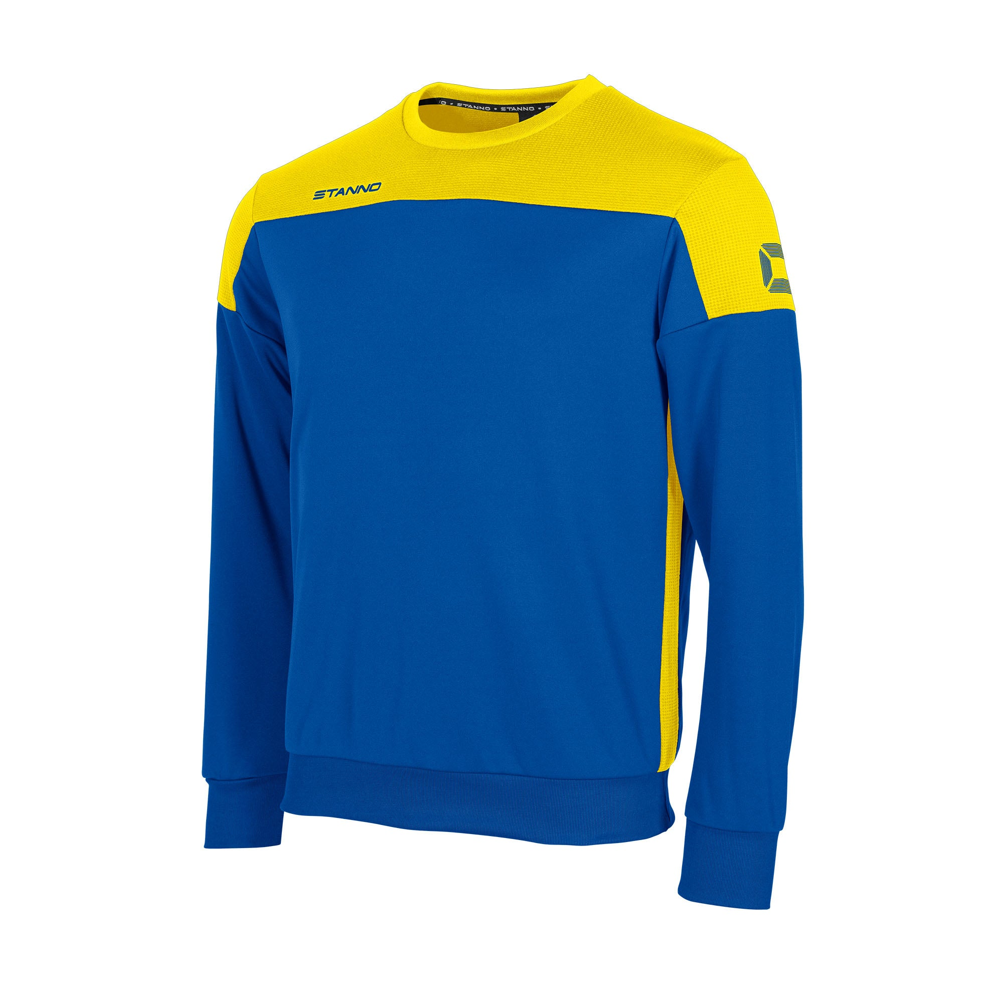Stanno Pride round neck sweatshirt in royal blue, with mesh contrast yellow shoulder and side panel