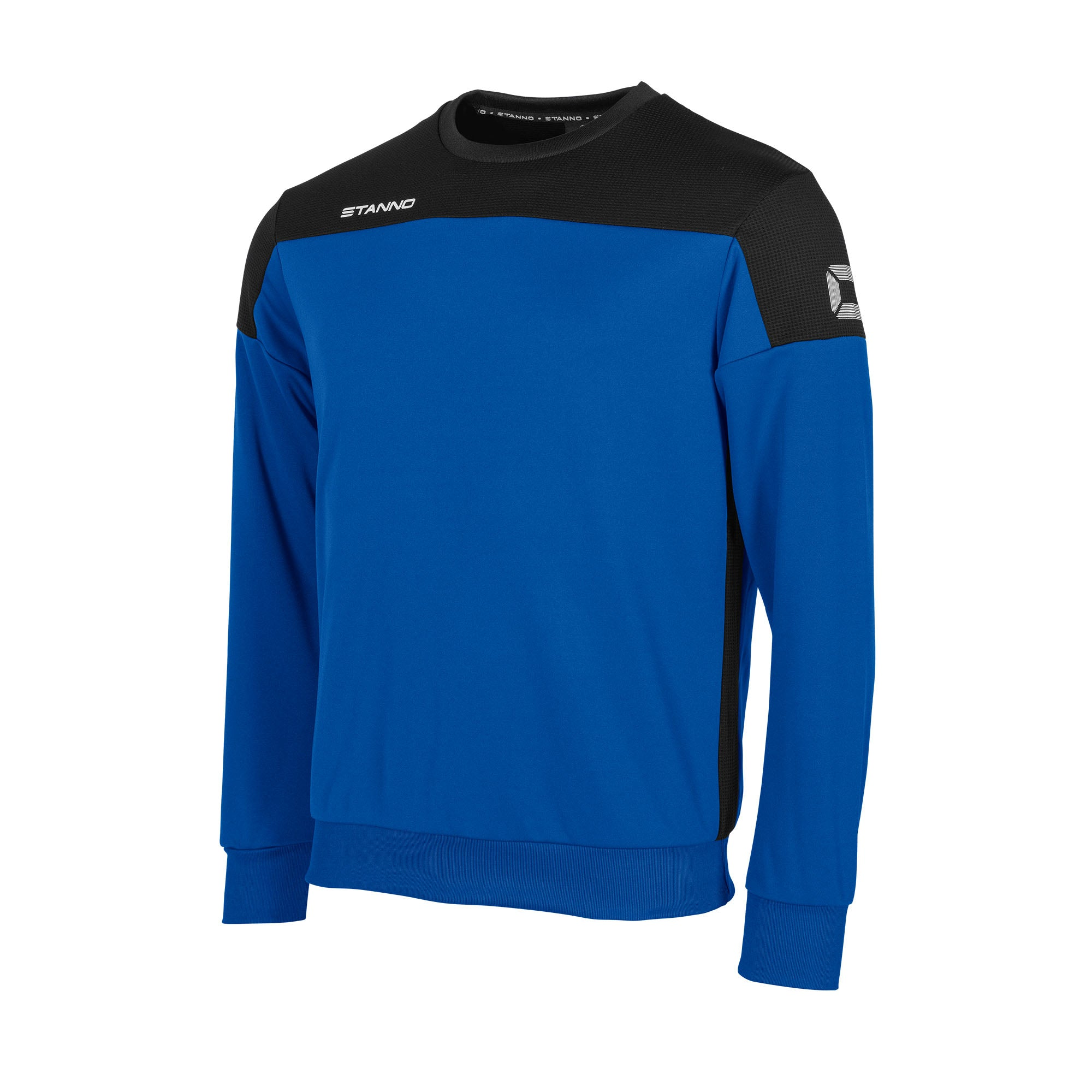 Stanno Pride round neck sweatshirt in royal blue, with mesh contrast black shoulder and side panel