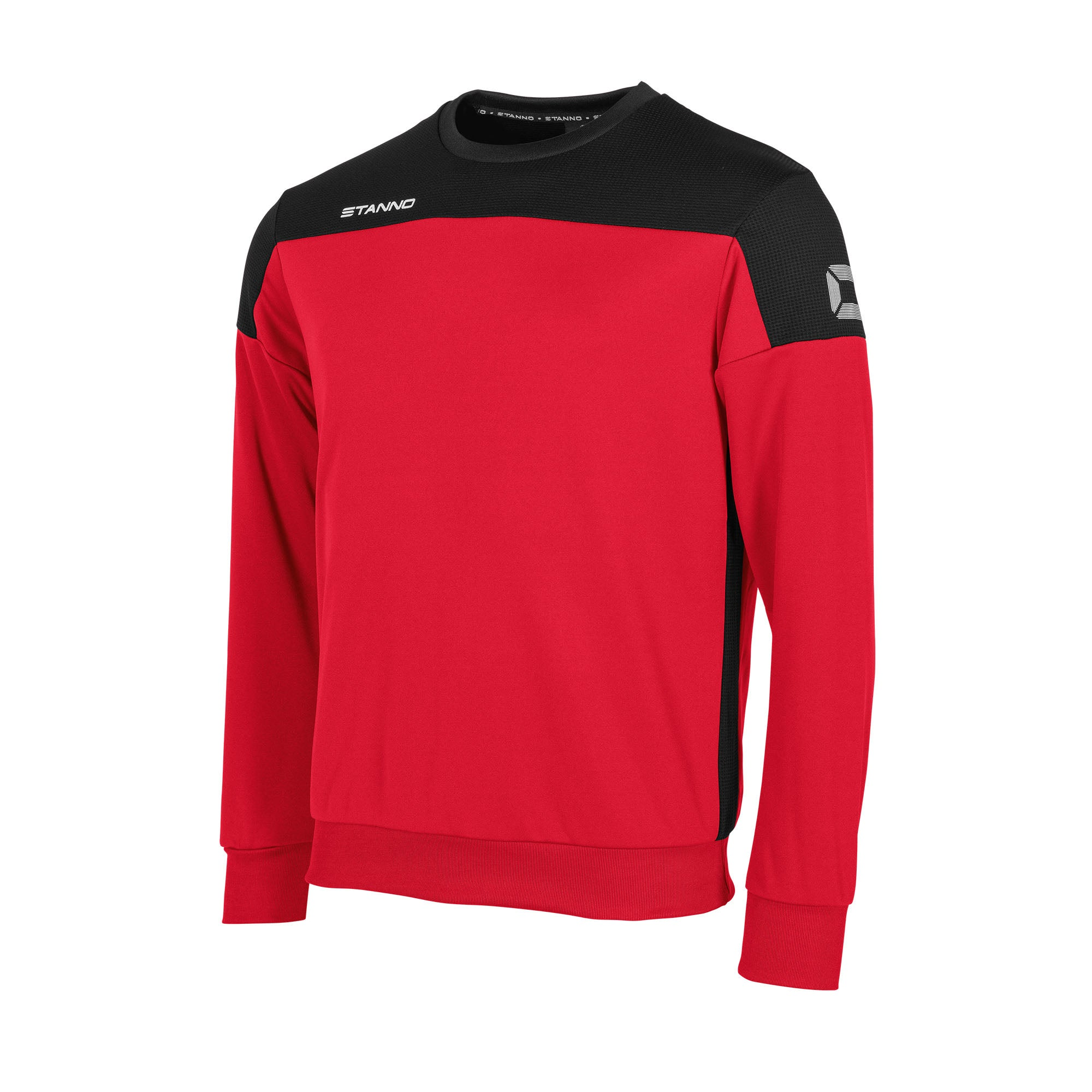 Stanno Pride round neck sweatshirt in red, with mesh contrast black shoulder and side panel
