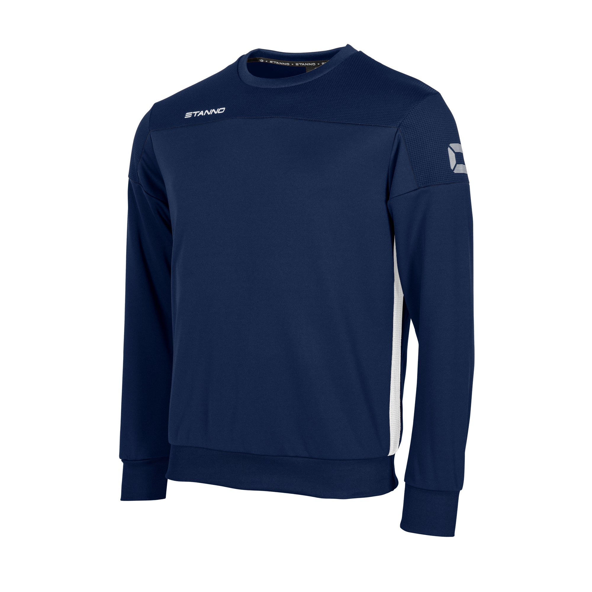 Stanno Pride round neck sweatshirt in navy, with mesh shoulder and contrast white side panel