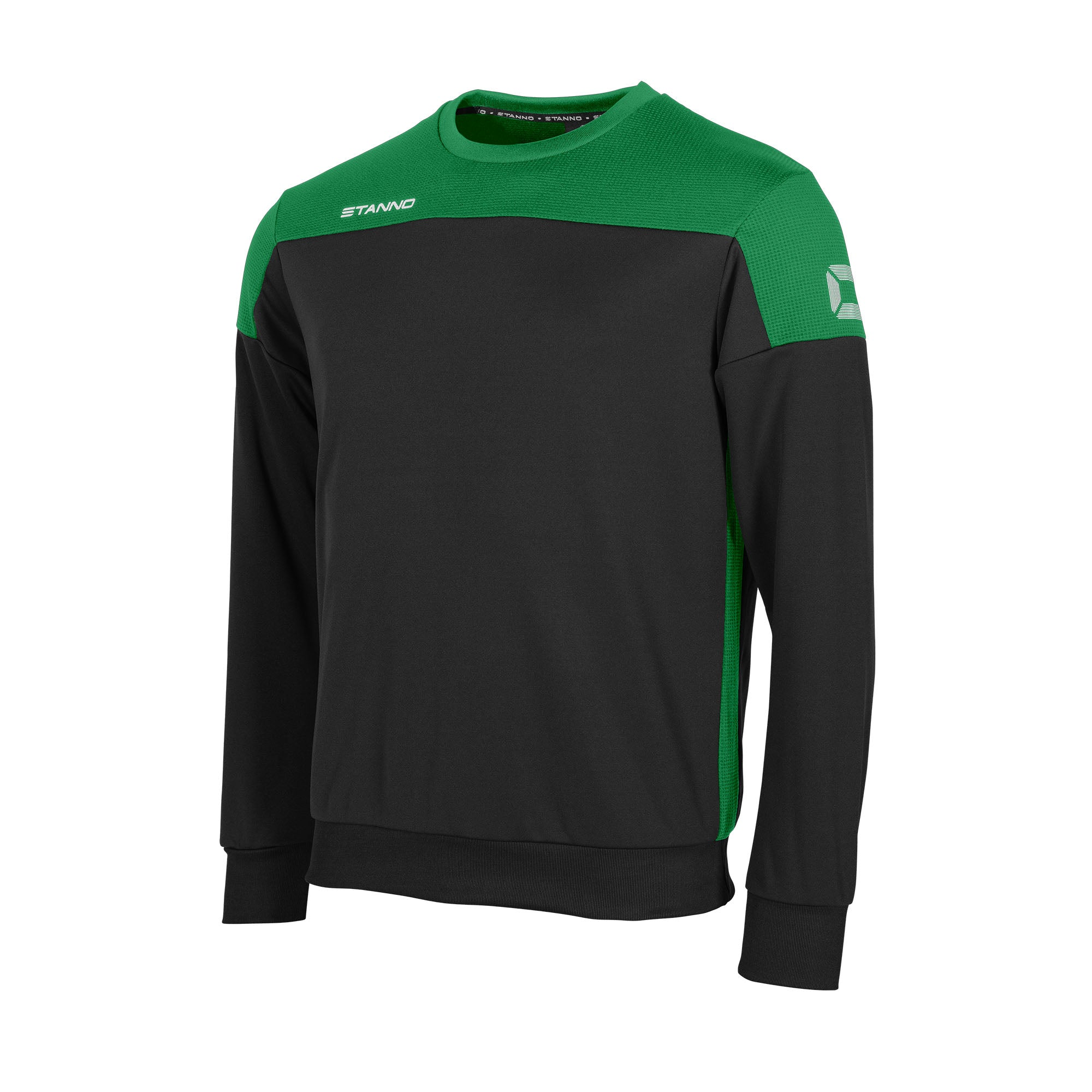 Stanno Pride round neck sweatshirt in black, with mesh contrast green shoulder and side panel